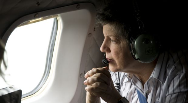 Homeland Security Secretary Janet Napolitano surveying the oil disaster in the Gulf of Mexico on April 30