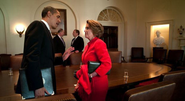 The President has a private conversation with House Speaker Nancy Pelosi following his meeting in the Cabinet Room with the Democratic Congressional leaders, 2009