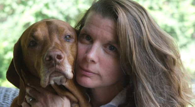 Author Jessica Pierce and her pet dog Ody