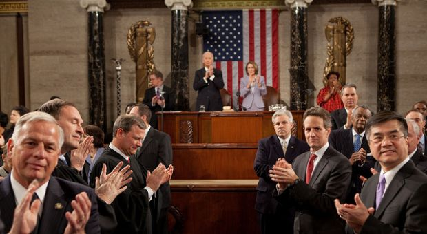 """As the President entered the House chamber to give his State of the Union address, I turned around to see his pathway to the podium. It reminded me of a scene from the movie, ""The American President."" (Pete Souza, White House photographer). Jan. 27, 2010"