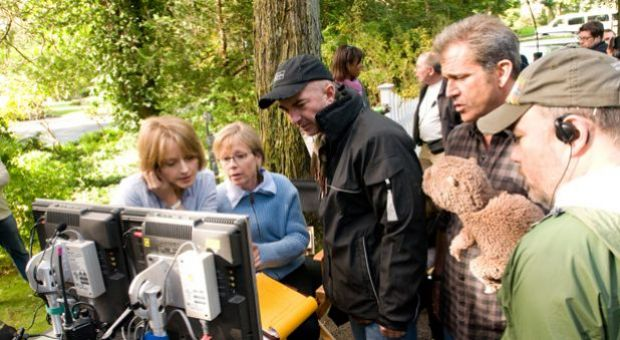 "Jodie Foster, Mel Gibson and crew on the set of the film ""The Beaver."""