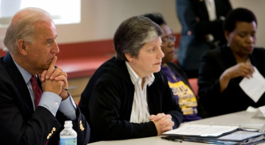 Vice President Joe Biden and Secretary of Homeland Security Janet Napolitano meet with Haitian community leaders and elected officials at the Little Haiti Cultural center to discuss recovery efforts, in Miami, Florida, January 16, 2010.